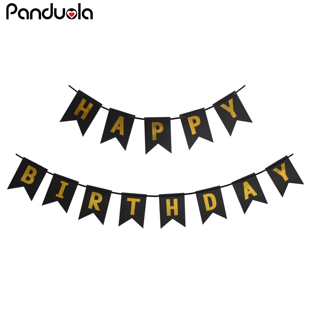 Panduola Glitter Happy Birthday Bunting Banners Gold Letters Hanging Garlands Pastel Pink String Flags Baby Shower Party Decor