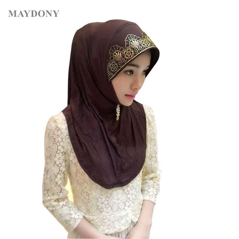 Muslim Scarf Shawls High-Quality Headband Hijab Women Ladies Bonnet Islamic TJ