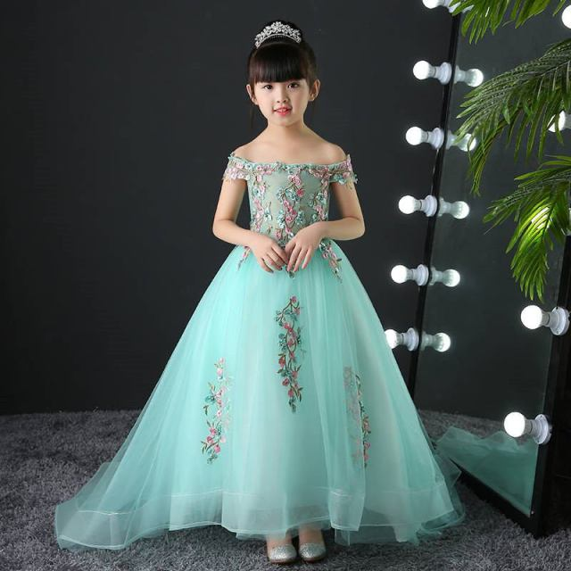 Teenage Girls Elegant Mesh Princess Party Dress Kids Girls Embroidery Flower Vestidos Children Nail beading Pearl Dresses Q124