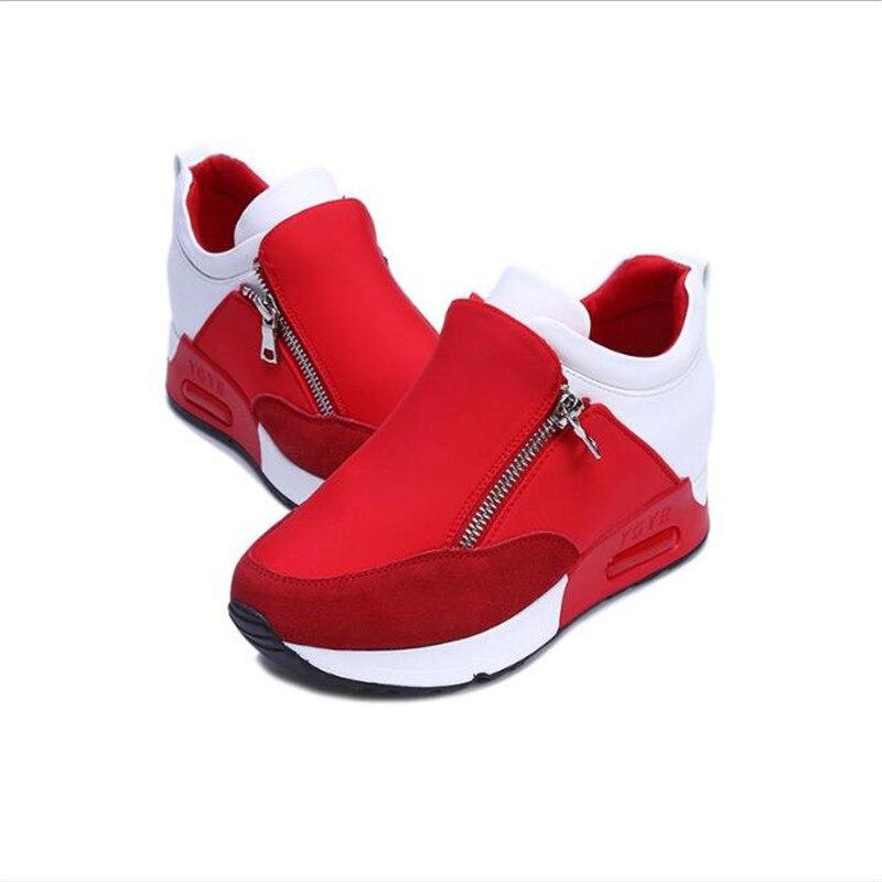 Mujeres Elgeer Paseo red Casual Plataforma Zapatos Black Cremallera De Transpirable Nueva Zapatillas Otoño rrRxw8f5