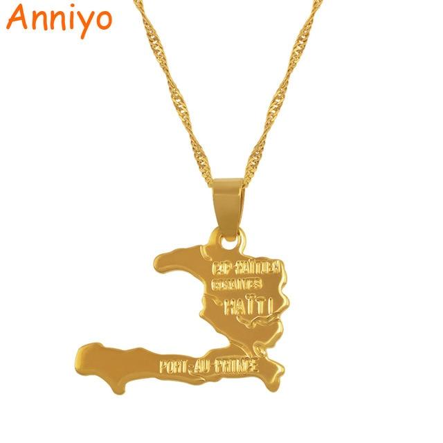 Anniyo Haiti Map Necklace Pendants for Women/Girls,Ayiti Gold Color Jewelry Gift