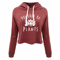 Funny Vegan Hooded Crop Tops Power by plants Women's Maroon Pullover Sweatshirt Women T Shirt 2019 Summer Fashion Girl's Tops