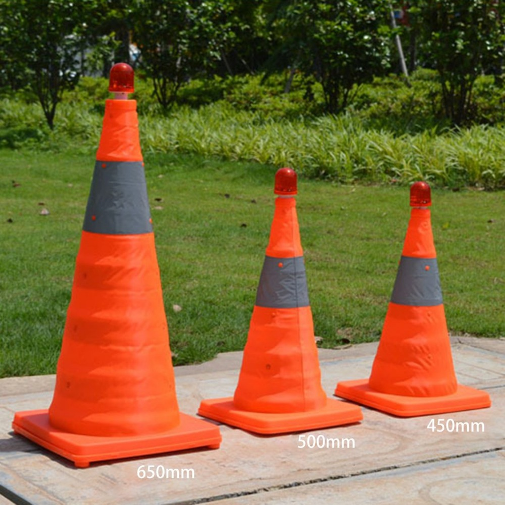 4cm5/50cm/65cm Reflective Traffic Cone NEW Folding Collapsible Orange Road Safety Cone Traffic Pop Up Parking Multi Purpose цена