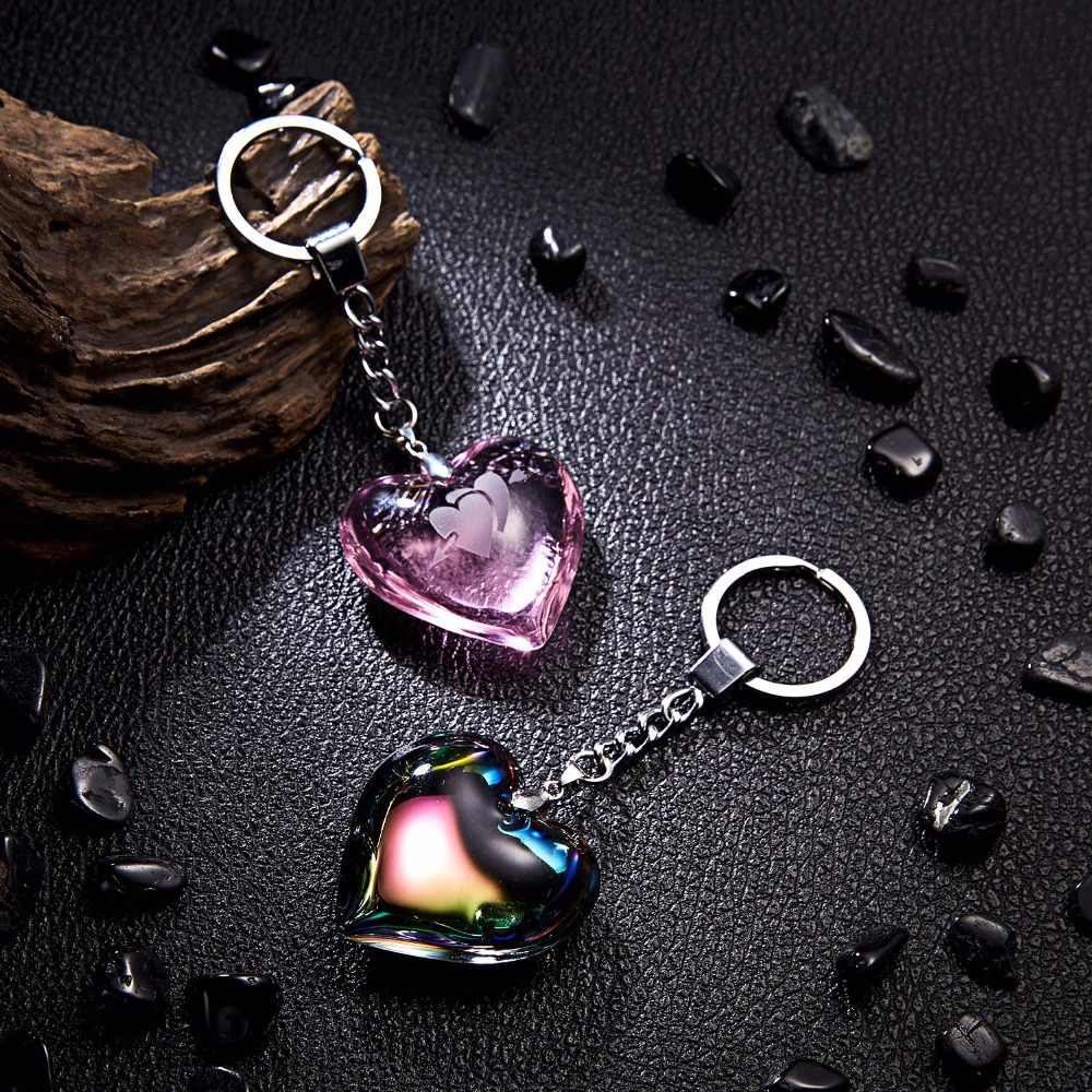 Charm Love Heart Keychain Long Print Watermark Heart Starfish Star Anise Heart Crystal Keychain Women Crystal Beads Key Ring