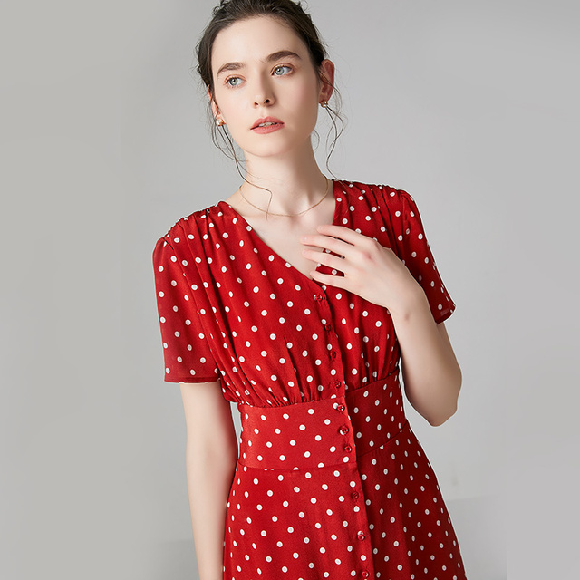 High Quality 100% Silk Dress Women Print V-Neck Short-Sleeve Lightweight Fabric Vintage Dot Casual Dress New Fashion Style 2019