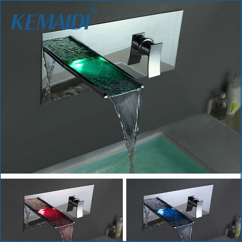 KEMAIDI Waterfall Faucets Wall Mounted Mixers & Taps Water Power LED Basin Mixer Chrome Faucet 3 Colors Change LED Tap china sanitary ware chrome wall mount thermostatic water tap water saver thermostatic shower faucet