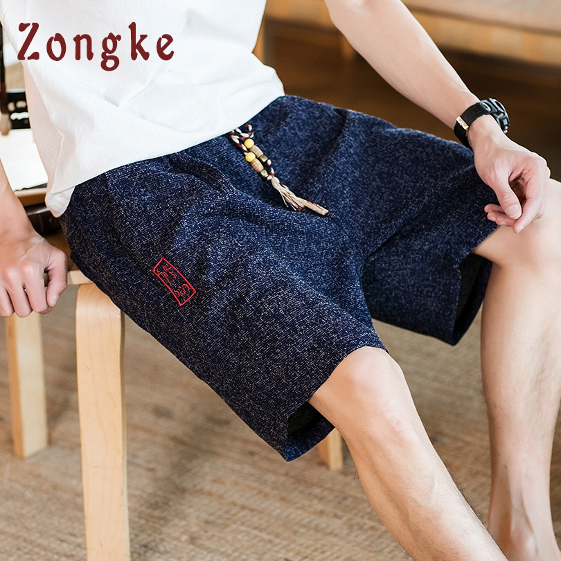 Zongke Chinese Style Knee Length Casual Shorts Men Streetwear Mens Shorts Summer Men Shorts Cotton Man Clothing 5XL 2019 New