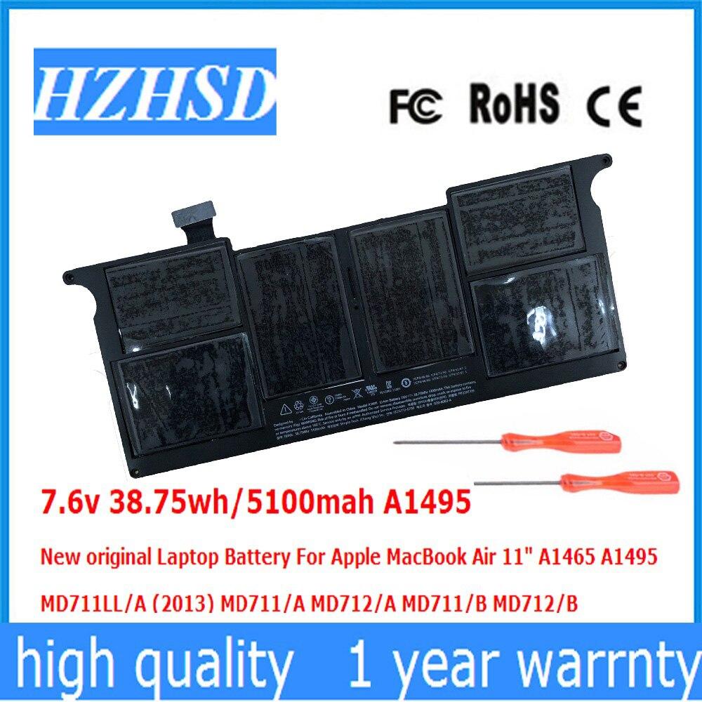 7.6 v 38.75wh/5100 mah A1495 nouvelle batterie d'ordinateur portable d'origine pour Apple MacBook Air 11