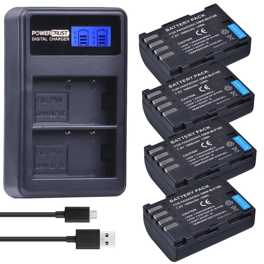 Pcs 1860mAh DMW-BLF19E DMW-BLF19 4 Câmera DMW BLF19 BLF19 BLF19E + LCD Dual USB Carregador de Bateria para Panasonic Lumix GH3 GH4 GH5