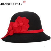 2017 Hot Female Winter Woolen Vintage Floral Womens Fedoras Felt Hats Fashion French Bowler Sombrero Fedora warm Hat For Women