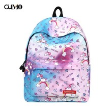 Ou Mo brand Cartoon Unicorn laptop man backpack computer bag anti theft school Bag teenagers travel Backpack Women
