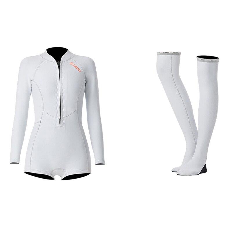 1,5 мм неопрен бикини гидрокостюм УФ Защита с длинным рукавом Дайвинг костюм купальный костюм серфинг подводное плавание чулки купальники - Цвет: Set White