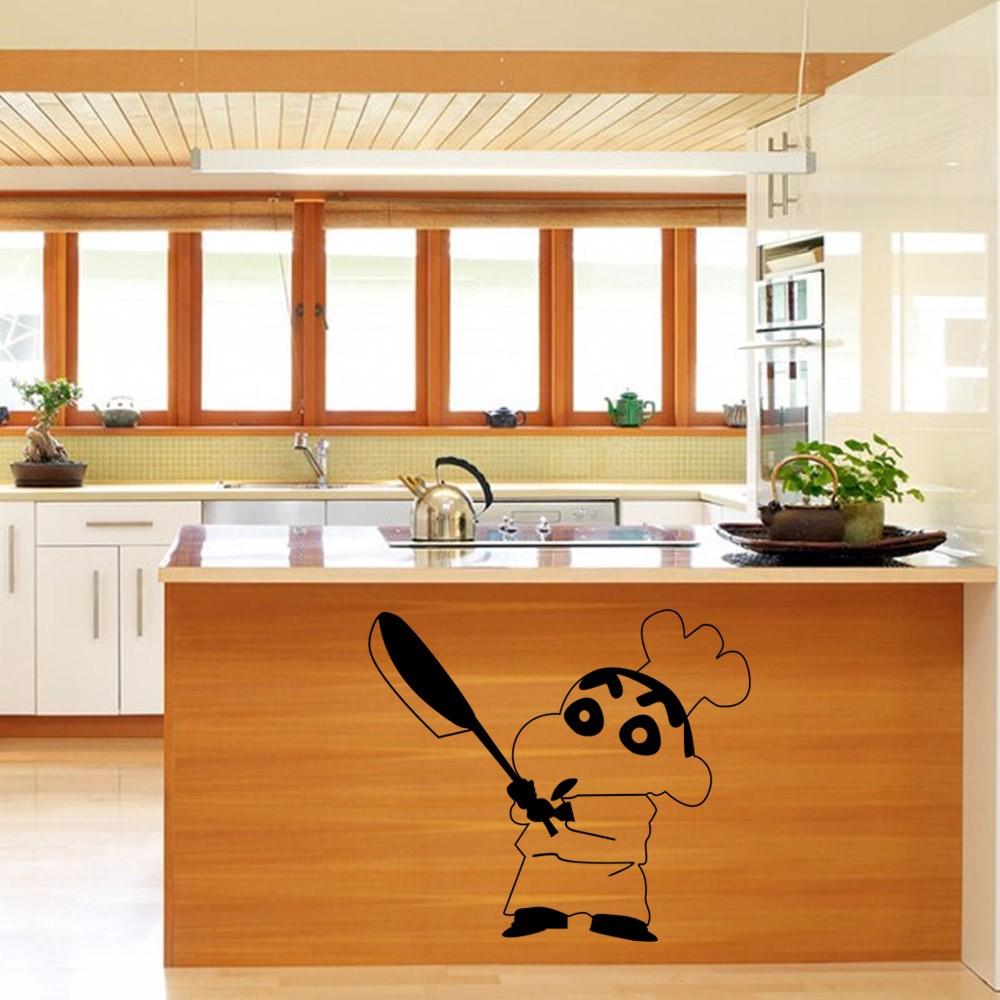 kitchen cabinet decals www designs layouts japanese cartoon vinyl wall sticker crayon shin chan on decal in stickers from home garden aliexpress com alibaba group