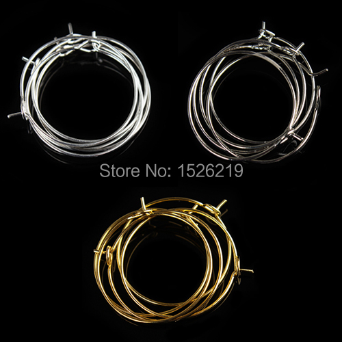 100pcs/lot 35mm Silver/Gold/Rhodium Earring Clips Ladies Round Loop Hoop Circle Earrings Wire Hooks Diy Jewelry Material F2399 yidensy 100pcs metal big circle wire hoops earrings loop 20 25mm gold silver for diy earring jewelry making findings