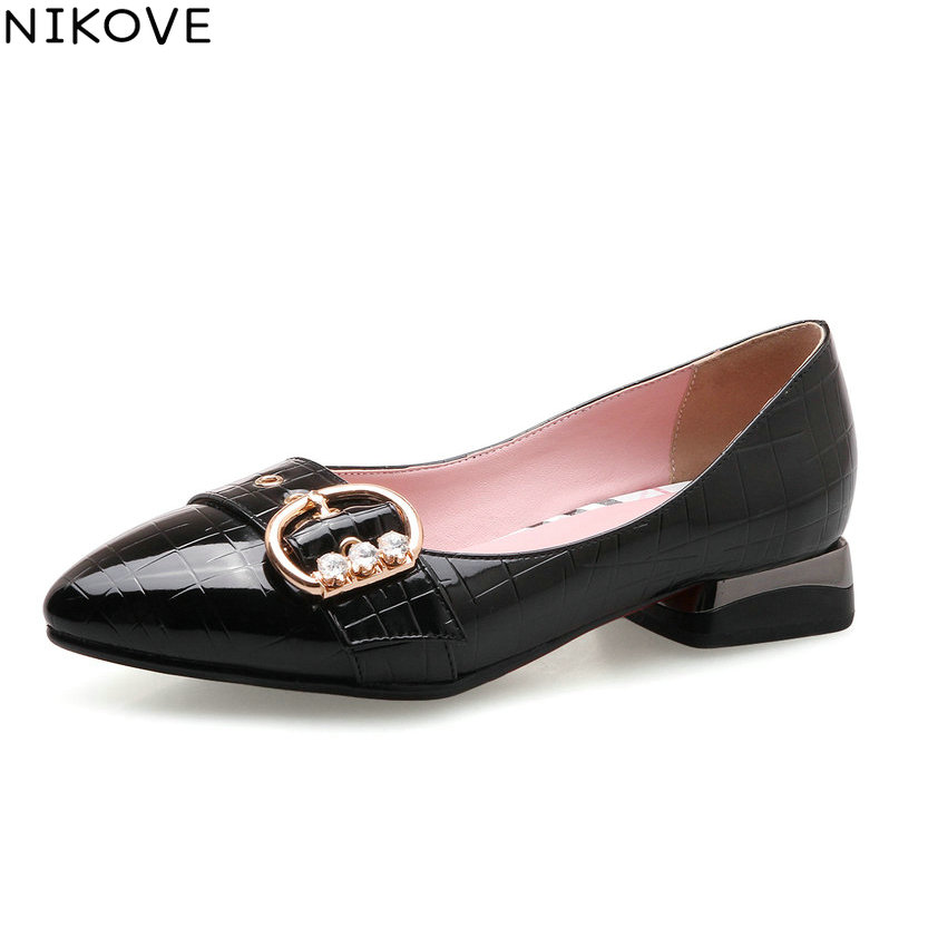 NIKOVE 2018 Buckle Women Pumps Shoes Western Style Slip on Pointed Toe Square Med Heels Shallow Chunky Women Shoes Size 34-43 2017 shoes women med heels tassel slip on women pumps solid round toe high quality loafers preppy style lady casual shoes 17