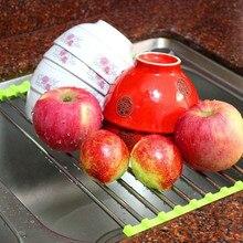 Kitchen Roll Up Dish Drying Rack Foldable Stainless Steel Over Sink Fruit Vegetable Drainer Bowl Storage Holder Rack Organizer