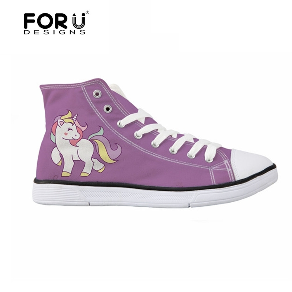 FORUDESIGNS Cute Vulcanize Shoes Horse Printed Women's Sneakers High Top Lace-up Women Leisure Canvas Shoes for Teenage Girls