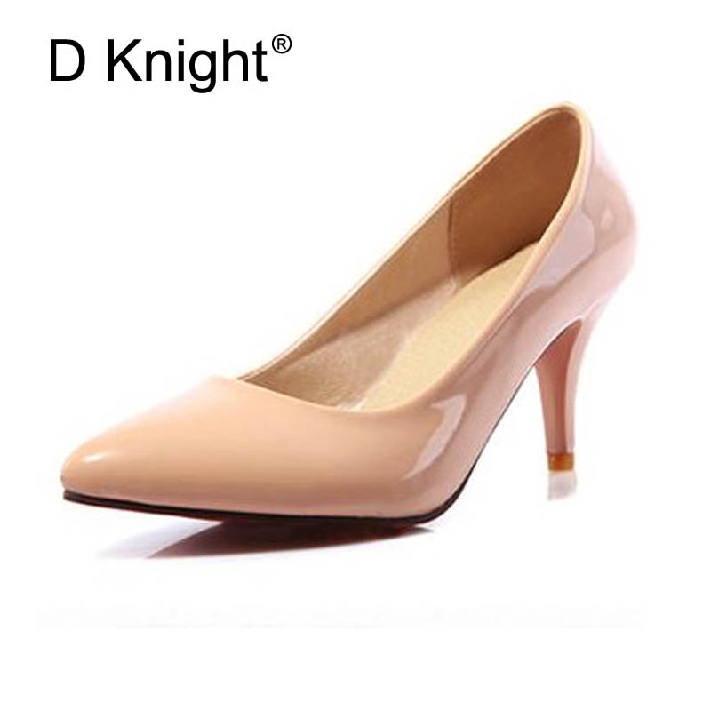 Sexy Pointed Toe Women High Heels Shoes Elegant Patent Shallow Mouth Thin Heels Women Pumps Size 34-48 Shoes Woman Ladies Pumps pumps shoes woman spring and autumn high heeled 11cm sexy shallow mouth thin heels flock pointed toe singles shoes size 35 39