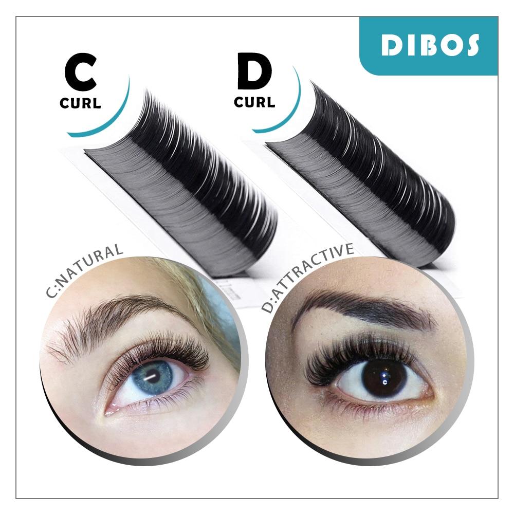 Dibos All Size 005 007 015 020 B C Dcurl Lashes Individual Faux Mink Eyelashes Volume Lashes Silk Fake False Eyelash extension in False Eyelashes from Beauty Health