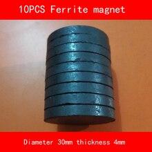 10PCS diameter 30mm thickness 4mm work temperature -40 to +220 Celsius circular black permanent Ferrite Magnet