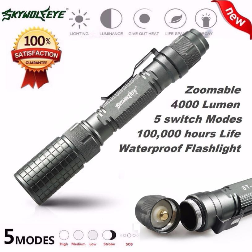 Bright 4000LM XM-L T6 Zoomable Focus on LED Flashlight Torch 5 Mode Light Lamp Bicycle Accessories Laser For Outdoor Sports P35
