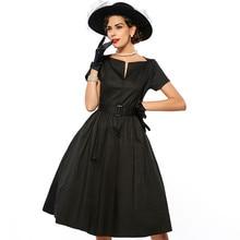Sisjuly Dress 1950s Spring Women Black Party A Line Sashes Dress Red Elegant Solid Color V Neck Summer Women Vintage Dresses