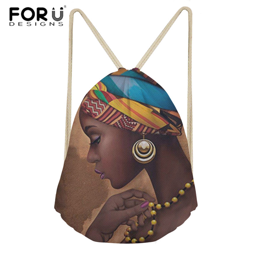 FORUDESIGNS Drawstring Bags Women Black Art African Girl Printing Mini Shoulder Bagpack Ladies Beach String Pouch For Females