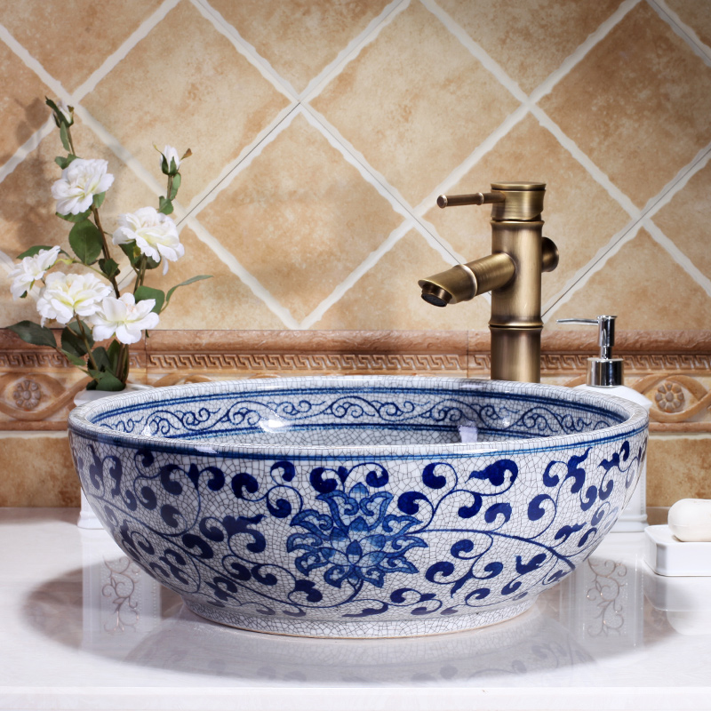 Free Shipping High quality Hand Painted Blue And White Ceramic bathroom basin