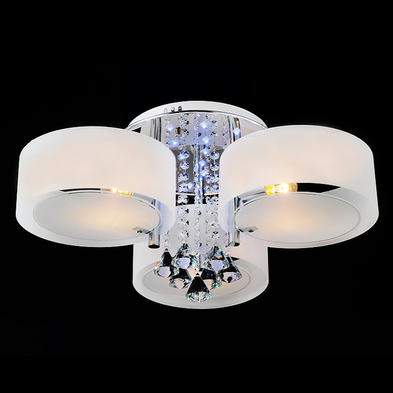 Ecolight Remote Control 3 Light RGB Led Crystal Chandelier Modern Living Room Bedroom Children Room(8002-3RGB) new design rgb led crystal light modern dinning room crystal chandelier with remote control