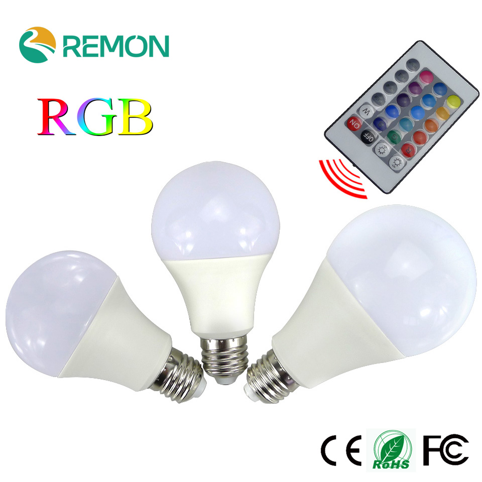 Hot Sale 3W 5W 7W E27 RGB Bulb 16 Color Changing LED Globe Bulbs Light Lamp Bulb AC85-265V With 24 Keys Remote Control e27 led rgb bulbs 3w 5w 10w rgb globe