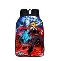 Anime Fullmetal Alchemist 청소년을위한 배낭 Edward Elric 어린이 학교 배낭 가방 어린이 남성 캐주얼 여행 배낭 가방