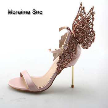 Moraima Snc 2018 Glitter Crystal Drilled Carved Butterfly Wings Decor Stiletto High Heels Sandals Ankle Strap Party Runway Shoes sandal