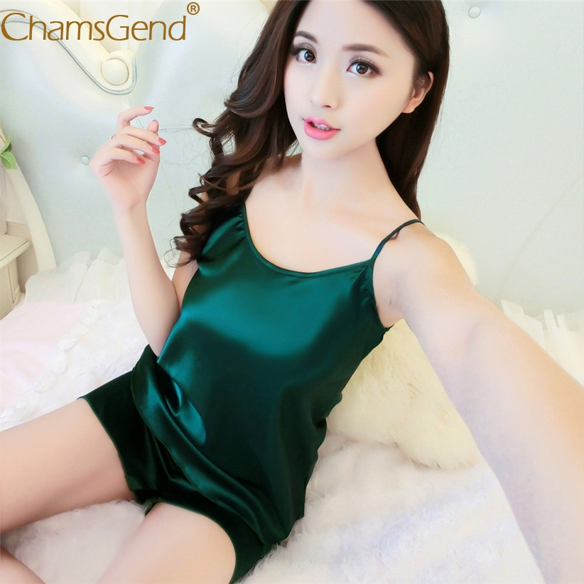 Chamsgend Pajama Set Women Sexy Soft Comfortable Strap Camisole Shorts Nightwear Sleepwear  80202