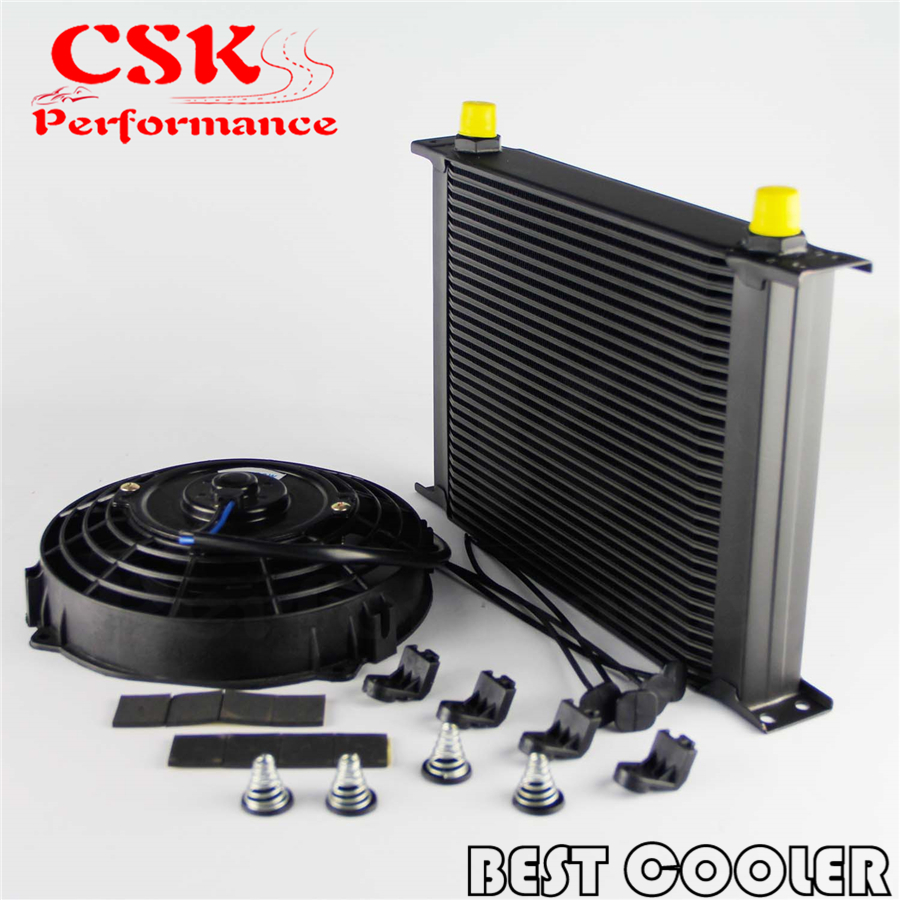 Universal 30 Row Engine Transmission 8AN Oil Cooler 7 Electric Fan Kit