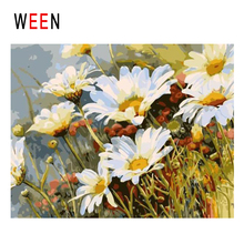WEEN Blooming Chrysanthemum Diy Painting By Numbers Flower Oil On Canvas Cuadros Decoracion Acrylic Wall Art Home Decor