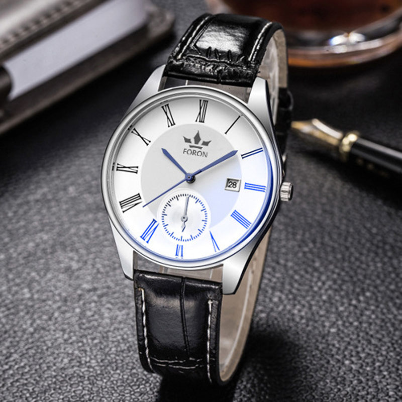FORON Brand <font><b>Men</b></font> Business Leather Quartz Watch <font><b>Blu-Ray</b></font> Glass Auto Date Waterproof Watches <font><b>Men's</b></font> Casual Male Table relojes homme