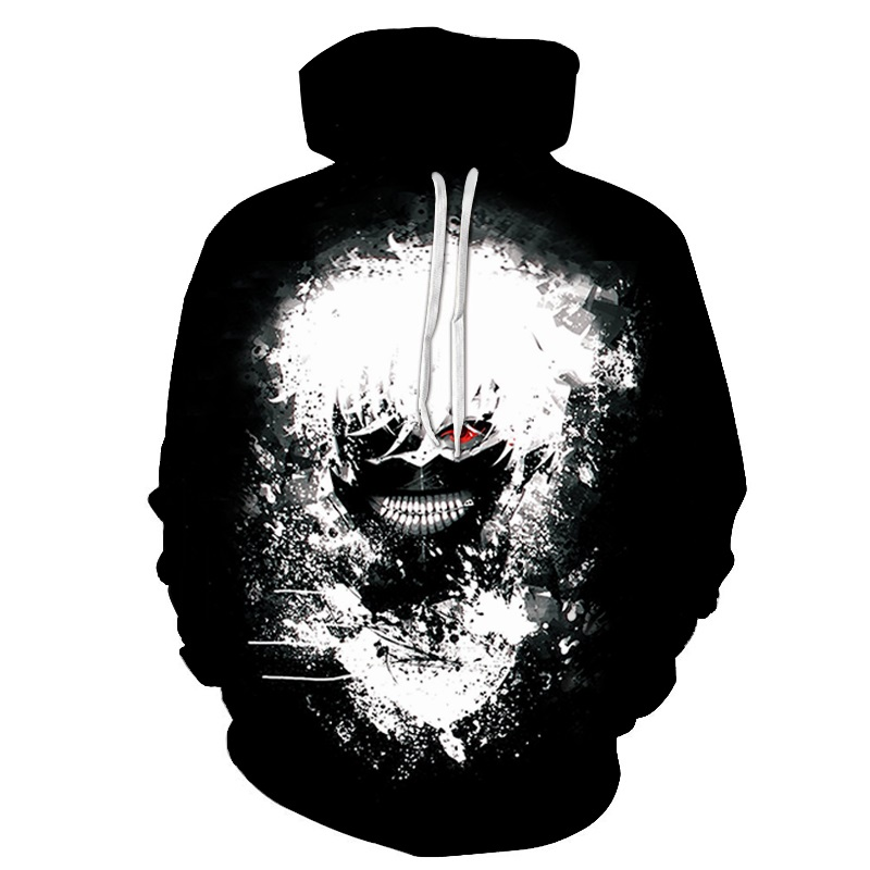 2018 New Classic Anime Tokyo Ghoul 3d Printing Hoodies Autumn Fashion Hoodie Tokyo Ghoul Harajuku Hip Hop Men Hooded Sweatshirt(China)