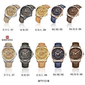 Image 5 - Relogio Masculino New NAVIFORCE Men Watch Sport Waterproof Wristwatch Military Army Business Leather Band Quartz Male Clock 9151