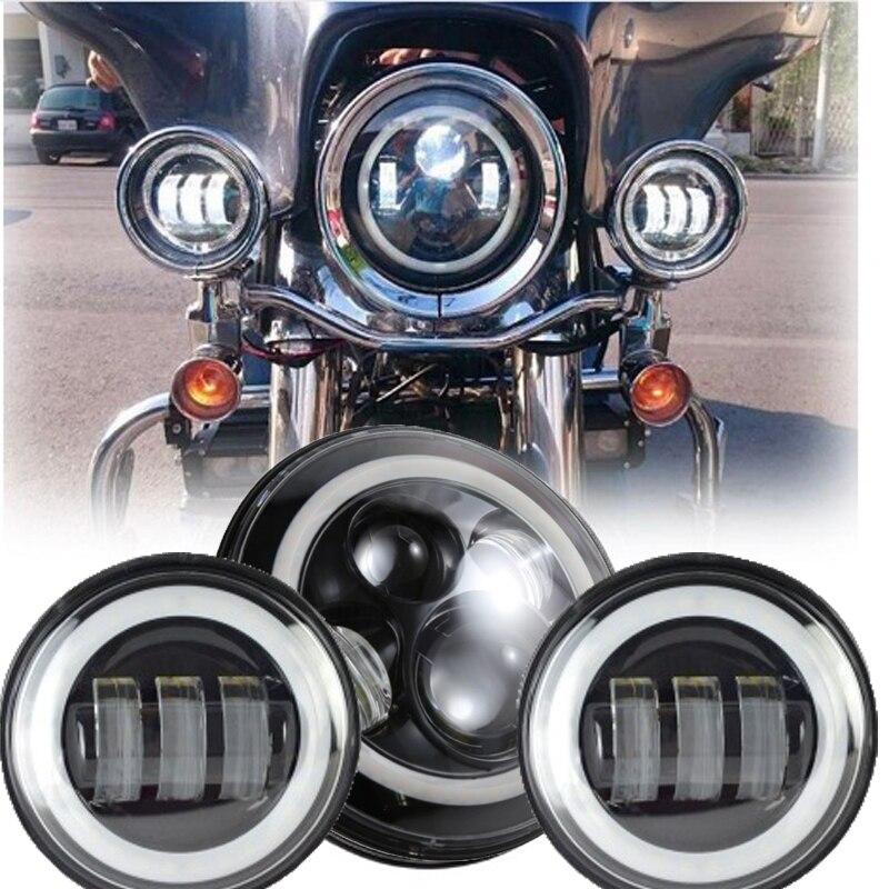 Black Moto LED Headlight 7'' Motor Headlamp Angel Eyes With 4.5
