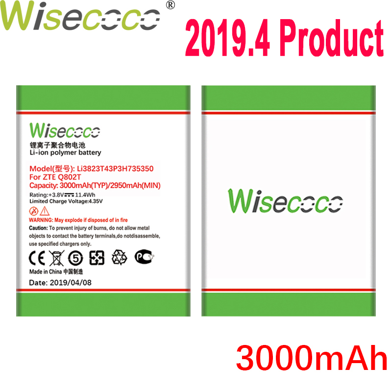 Wisecoco 3000mAh Li3823T43P3H735350 Battery For <font><b>ZTE</b></font> Q802T <font><b>Geek</b></font> <font><b>V975</b></font> U988S N986 V976 N976 Phone Latest Production+Tracking Number image
