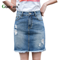 Guoran Basic A Line Denim Jeans Skirts For Women 2017 Summer Ripped High Waist Female