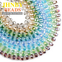 JHNBY Wheel shape Austrian crystal beads Flat round 8x6mm 50pcs glass Loose beads for Jewelry Making Bracelets Accessories DIY()