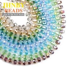 JHNBY Wheel shape Austrian crystal beads Flat round 8x6mm 50pcs glass Loose beads