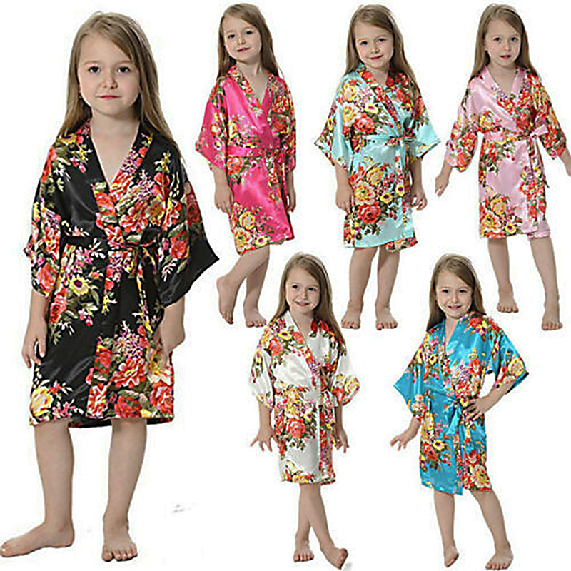 Sleepwear Robe Nightgown Kimono Floral-Bathrobe Satin Party Birthday Girls Kids New Silk