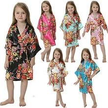 Новинка, детское атласное шелковое кимоно для девочек, банный халат с цветочным рисунком, ночная рубашка, ночное белье подружки невесты для спа, вечерние, на свадьбу, день рождения