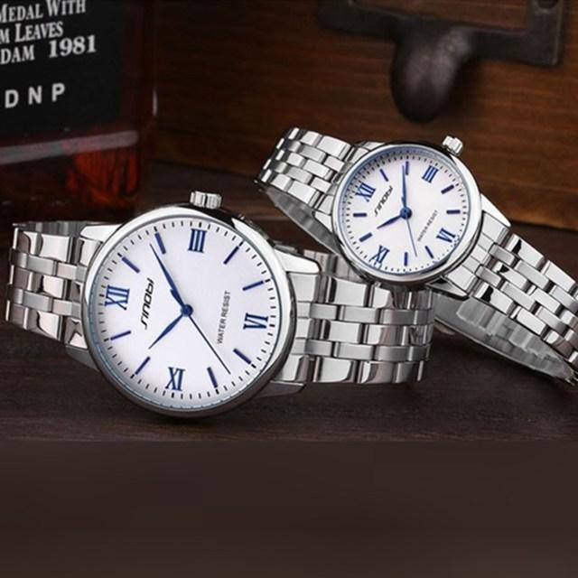 Couples Mesh Strap Quartz Watch Set 1