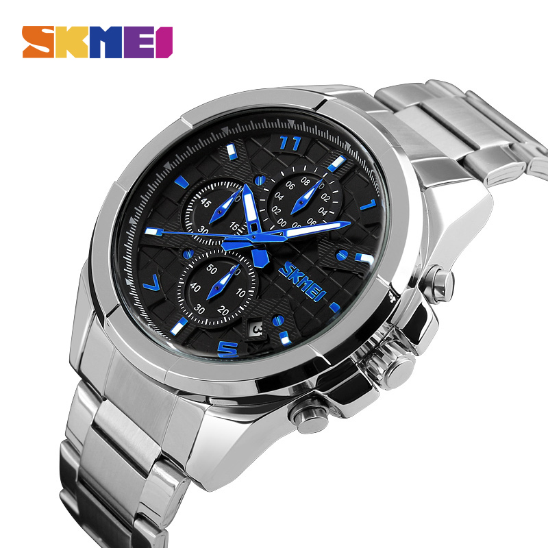 SKMEI Men Quartz Watches Fashion Business Luxury Watch Water Resistant Stainless Steel Strap Superior De Lujo Male Wristwatches