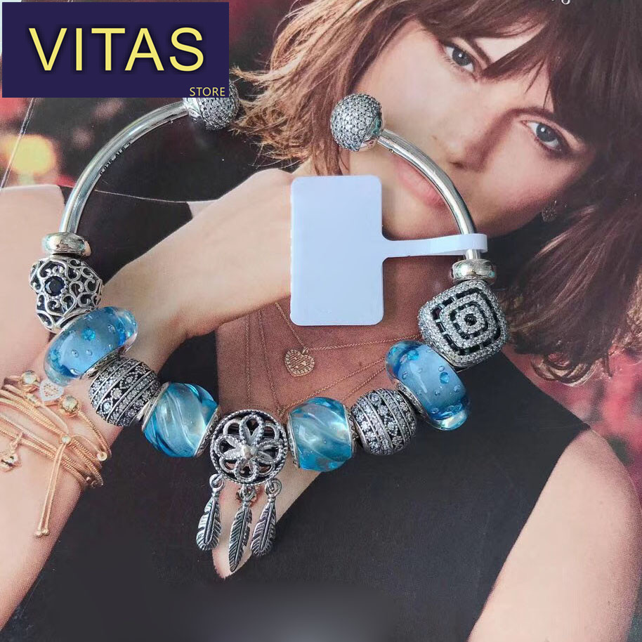 ViTas PAN Sterling Silver S925 Sky Blue Water Drop Series Creative Fresh Love Ocean Classic Festival Ms. Gifts
