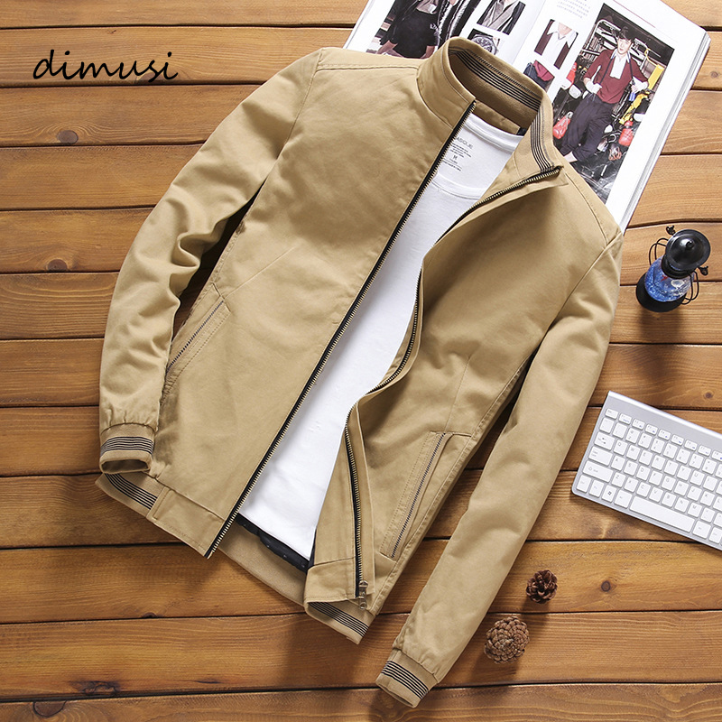 DIMUSI Spring Autumn Bomber Jackets Casual Male Outwear Windbreaker Stand Collar Mens