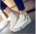 fashion classic Shoes Woman High Platform Spring Autumn Canvas Shoes lace up Casual Flats white Shoes Woman